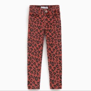 Red leopard print jeans